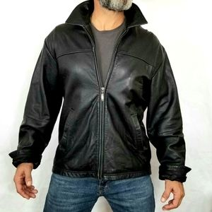 Claiborne Lambskin Leather Bomber Jacket